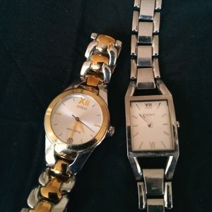 Lot of two watches dkny guess silver gold tones